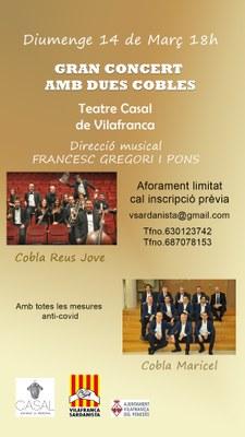 Concert de sardanes i música per a cobla amb dues cobles