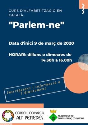 """Curs d'alfabetització en català """"Parlem-ne"""""""