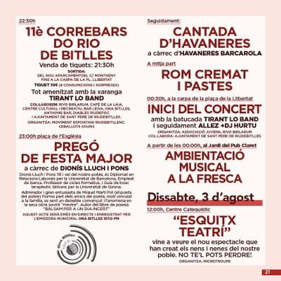 EL PREGÓ i HAVANERES.  FESTA MAJOR DE SANT PERE DE RIUDEBITLLES
