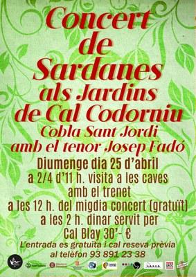 FOMENT SARDANISTA SANT SADURNÍ - Concert  a can Codorniu