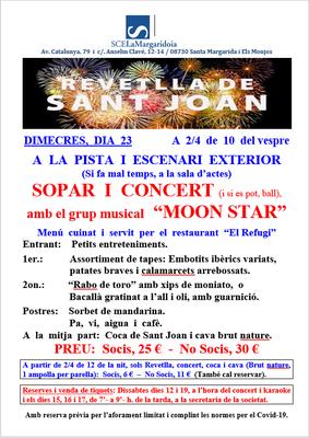 REVETLLA DE SANT JOAN. SOPAR I CONCERT AMB MOON STAR