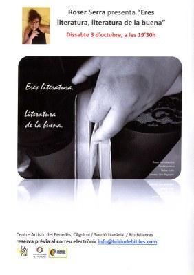 """Roser Serra presenta """"Eres literatura, literatura de la buena"""""""