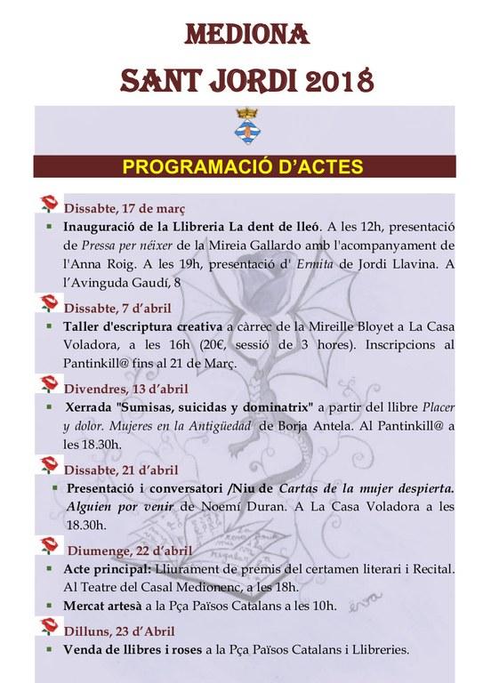 PROGRAMACIÓ ACTES SANT JORDI 2018