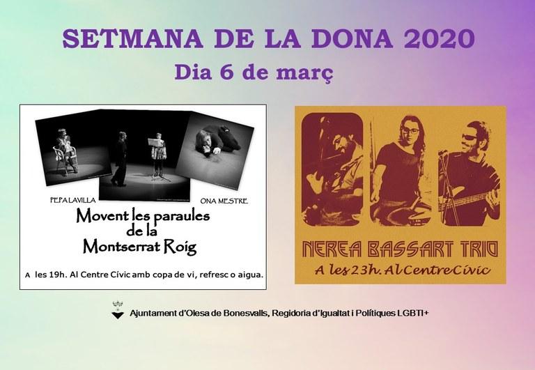 SETMANA DE LA DONA 2020 OLESA DE BONESVALLS, 6 DE MARÇ