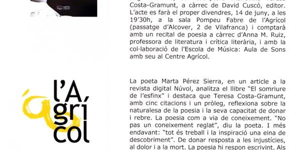 """Teresa Costa-Gramunt presenta el poemari """"El somriure de l'esfinx"""""""
